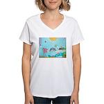 Bird Family Collage Art Women's V-Neck T-Shirt