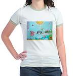 Bird Family Collage Art Jr. Ringer T-Shirt