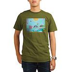 Bird Family Collage Art Organic Men's T-Shirt (dar