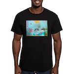Bird Family Collage Art Men's Fitted T-Shirt (dark