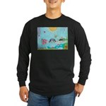 Bird Family Collage Art Long Sleeve Dark T-Shirt