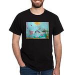 Bird Family Collage Art Dark T-Shirt