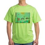Bird Family Collage Art Green T-Shirt