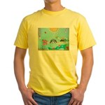 Bird Family Collage Art Yellow T-Shirt