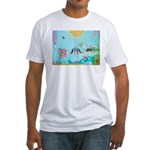 Bird Family Collage Art Fitted T-Shirt