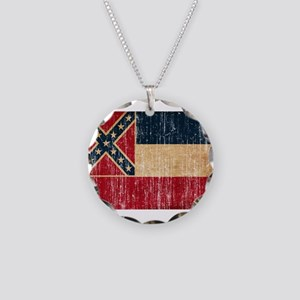 Mississippi Flag Necklace Circle Charm