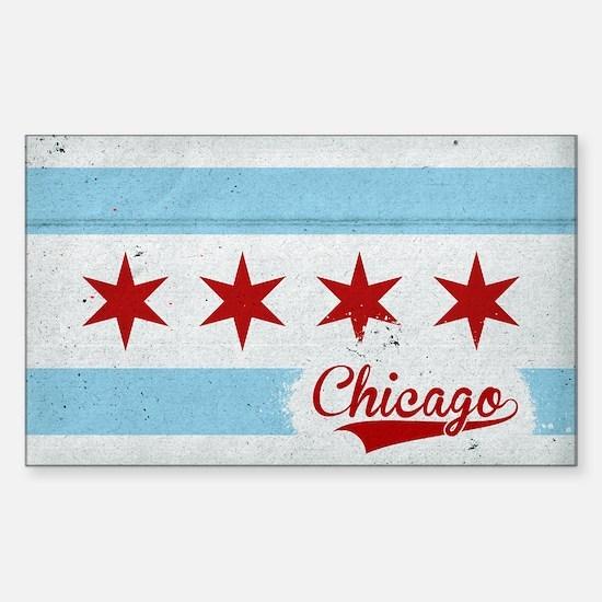 Vintage Chicago Flag Design Sticker (Rectangle)