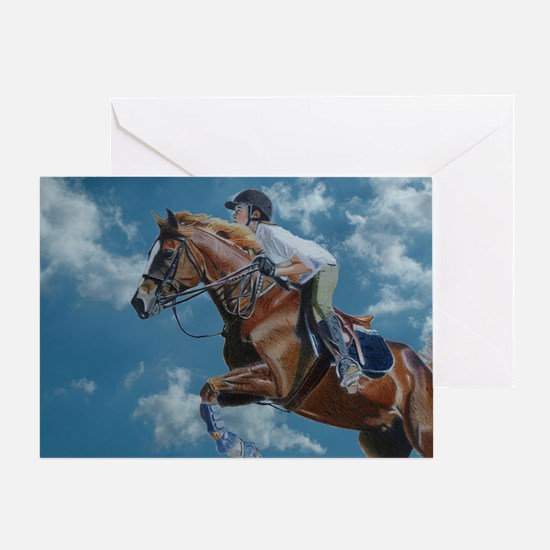 Horse Jumper in the Clouds Greeting Card