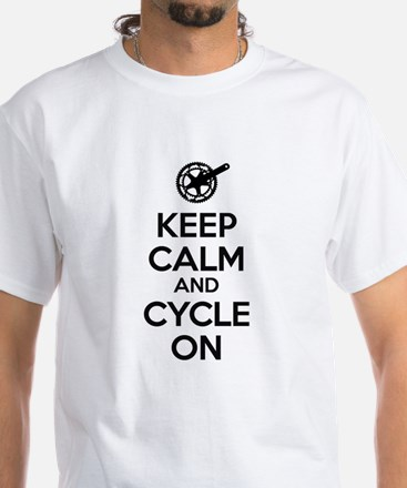 Keep Calm and Cycle On Black Text White T-Shirt