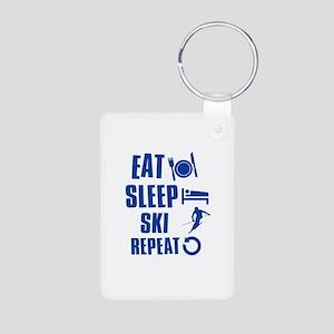 Eat Sleep Ski Aluminum Photo Keychain