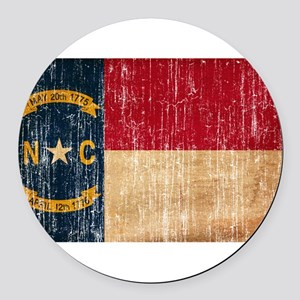 North Carolina Flag Round Car Magnet