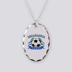 Nicaragua Soccer designs Necklace Oval Charm