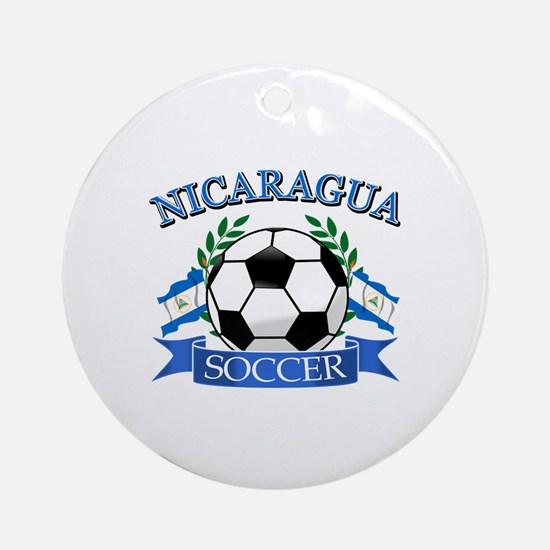 Nicaragua Soccer designs Ornament (Round)
