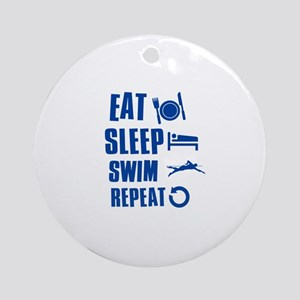 Eat Sleep Swim Ornament (Round)