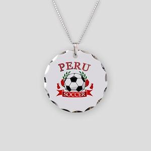 Peru Soccer designs Necklace Circle Charm