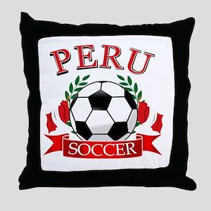 Peru Soccer designs Throw Pillow