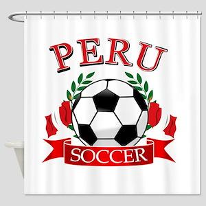 Peru Soccer designs Shower Curtain