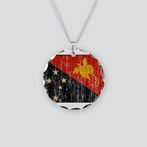 Papua new Guinea Flag Necklace Circle Charm