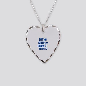 Eat Sleep Throw Discus Necklace Heart Charm
