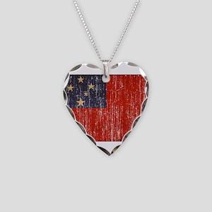 Samoa Flag Necklace Heart Charm