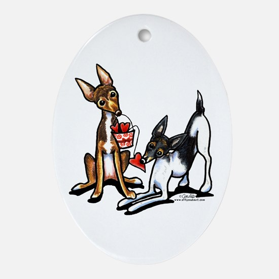 Rat Terrier Sweethearts Ornament (Oval)