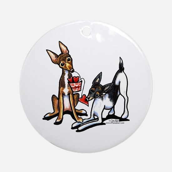 Rat Terrier Sweethearts Ornament (Round)