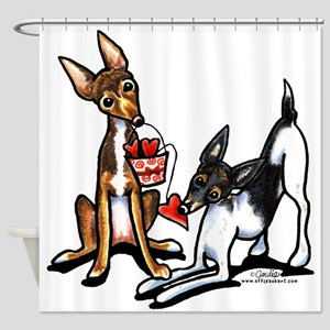 Rat Terrier Sweethearts Shower Curtain