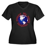 Football Soccer Women's Plus Size V-Neck Dark T-Sh