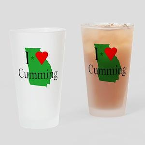 I Love Cumming Drinking Glass