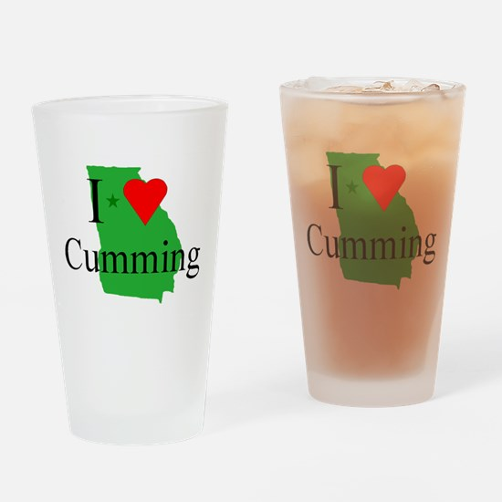 I Love Cumming Drinking Glass