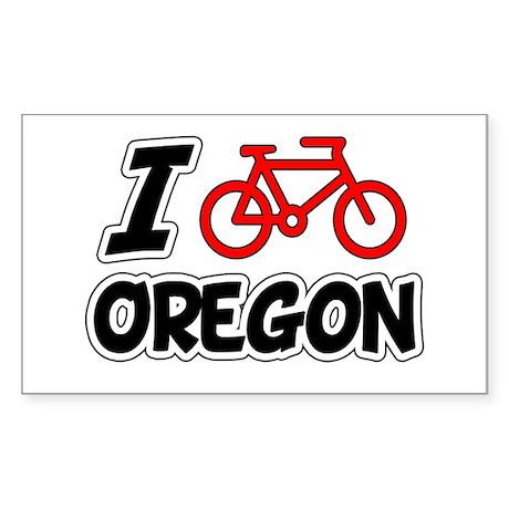 I Love Cycling Oregon Sticker (Rectangle)