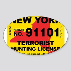 terrorist-hunting-license-NY Sticker (Oval)