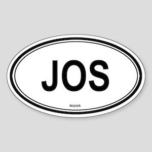 Jos, Nigeria euro Oval Sticker
