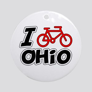 I Love Cycling Ohio Ornament (Round)
