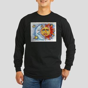 Celestial Sun and Moon Long Sleeve Dark T-Shirt