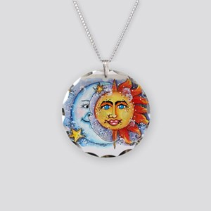 Celestial Sun and Moon Necklace Circle Charm