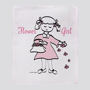 Pretty in Pink Flower Girl Throw Blanket