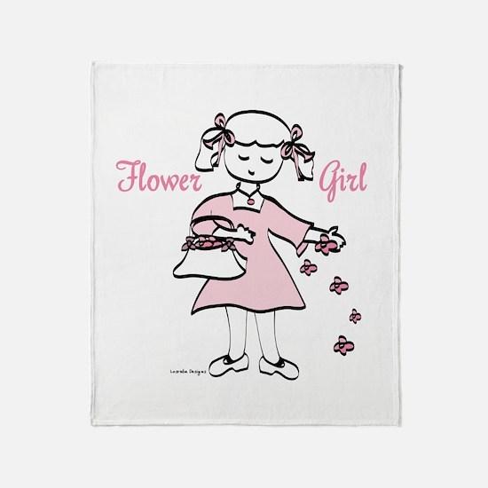 Pretty in Pink Flower Girl Throw Blanket