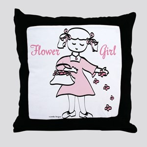 Flower Girl Pretty in Pink Throw Pillow