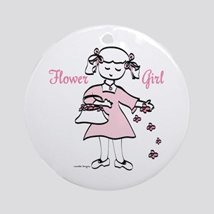 Pretty in Pink Flower Girl Ornament (Round)