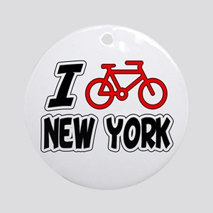 I Love Cycling New York Ornament (Round)