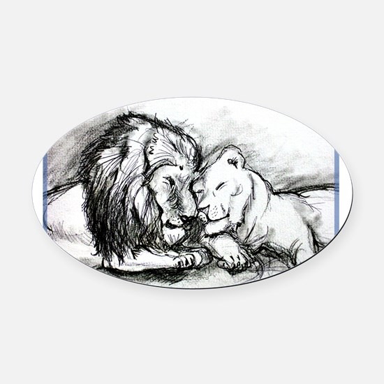 Lions! Wildlife art! Oval Car Magnet