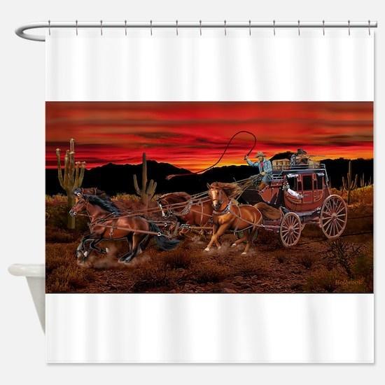 Stagecoach Cowboys Shower Curtain