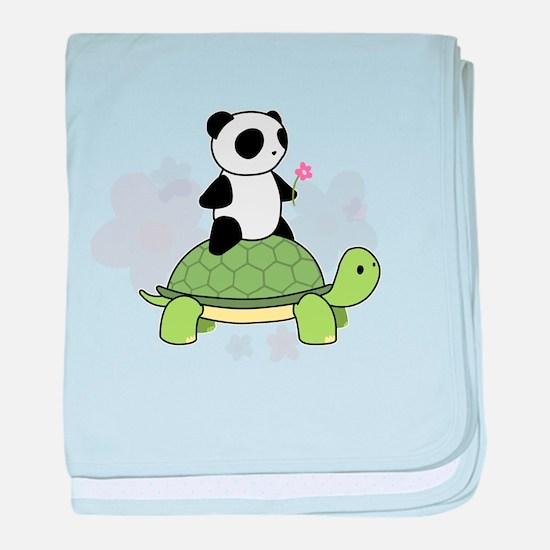 Turtle and Panda 1 baby blanket