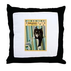 B/W Cat Throw Pillow