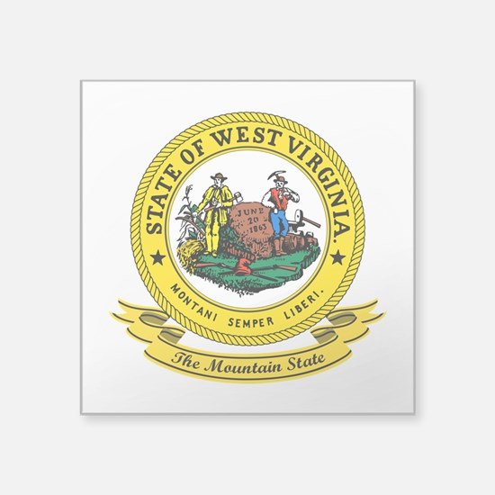 """West Virginia Seal.png Square Sticker 3"""" x 3"""""""