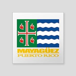 "Mayaguez Flag Square Sticker 3"" x 3"""
