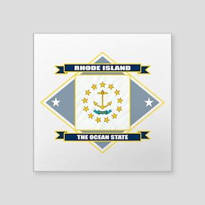 "Rhode Island diamond Square Sticker 3"" x 3"""