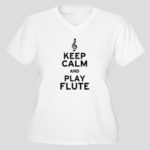 Keep Calm and Play Flute Women's Plus Size V-Neck