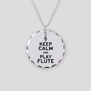 Keep Calm and Play Flute Necklace Circle Charm